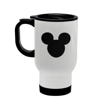 mouse man, Κούπα ταξιδιού ανοξείδωτη με καπάκι, διπλού τοιχώματος (θερμό) λευκή 450ml