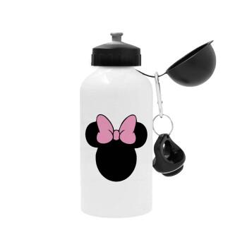 mouse girl, Μεταλλικό παγούρι ποδηλάτου, Λευκό, αλουμινίου 500ml