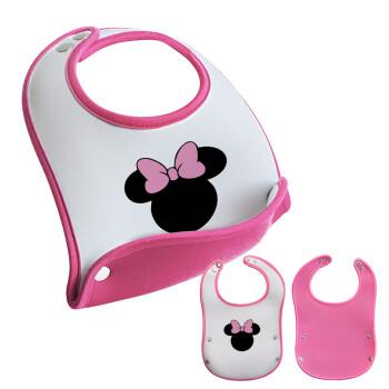 mouse girl, Σαλιάρα μωρού Ροζ κοριτσάκι, 100% Neoprene (18x19cm)