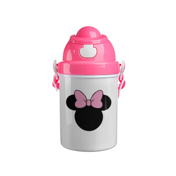 mouse girl, Ροζ παιδικό παγούρι πλαστικό (BPA-FREE) με καπάκι ασφαλείας, κορδόνι και καλαμάκι, 400ml