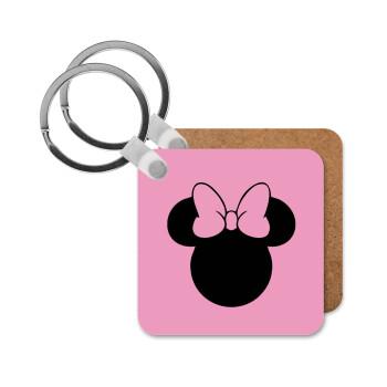 mouse girl, Μπρελόκ Ξύλινο τετράγωνο MDF 5cm (3mm πάχος)