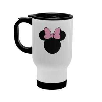 mouse girl, Κούπα ταξιδιού ανοξείδωτη με καπάκι, διπλού τοιχώματος (θερμό) λευκή 450ml