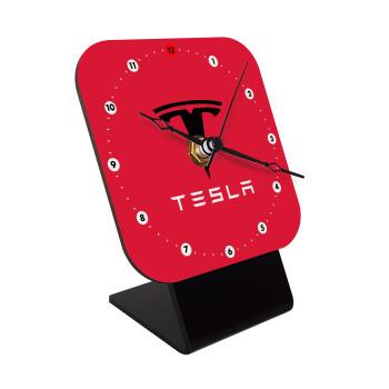 Tesla motors, Επιτραπέζιο ρολόι ξύλινο με δείκτες (10cm)
