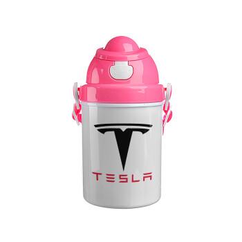Tesla motors, Ροζ παιδικό παγούρι πλαστικό (BPA-FREE) με καπάκι ασφαλείας, κορδόνι και καλαμάκι, 400ml