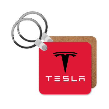 Tesla motors, Μπρελόκ Ξύλινο τετράγωνο MDF 5cm (3mm πάχος)