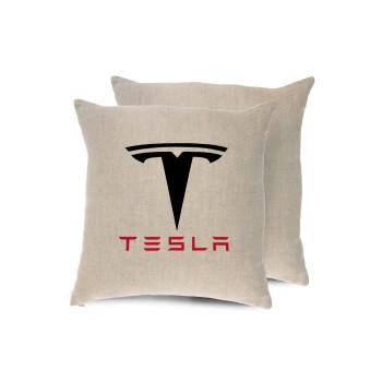 Tesla motors, Μαξιλάρι καναπέ ΛΙΝΟ 40x40cm περιέχεται το γέμισμα