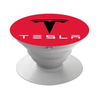 Tesla motors, Pop Socket Λευκό Βάση Στήριξης Κινητού στο Χέρι