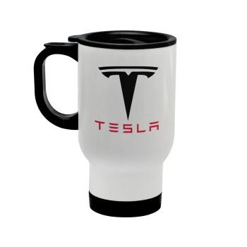 Tesla motors, Κούπα ταξιδιού ανοξείδωτη με καπάκι, διπλού τοιχώματος (θερμό) λευκή 450ml