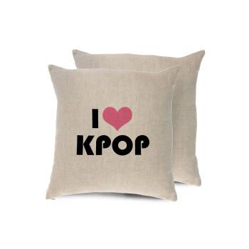 I Love KPOP, Μαξιλάρι καναπέ ΛΙΝΟ 40x40cm περιέχεται το γέμισμα