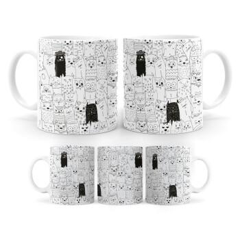 Γάτες γραμμικό σχέδιο, Κούπα, κεραμική, 330ml (1 τεμάχιο)