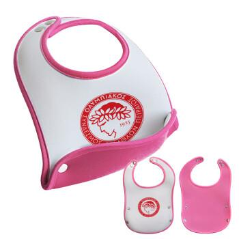 Ολυμπιακός, Σαλιάρα μωρού Ροζ κοριτσάκι, 100% Neoprene (18x19cm)